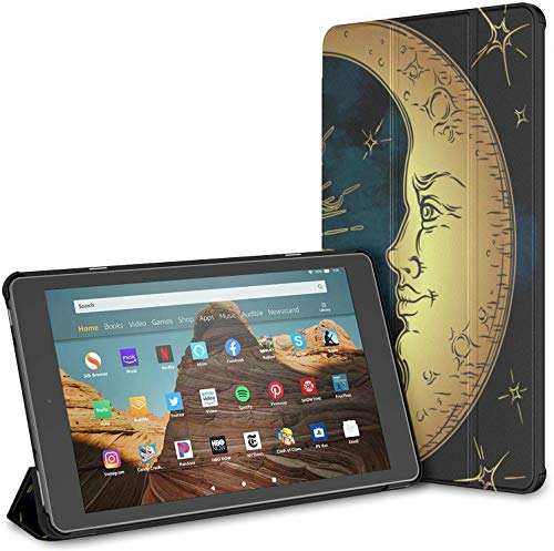 Case for Ethnic Star Flower Moon Sun Face Fire Hd 10 Tablet (9th/7th Generation, 2019/2017 Release) CoversforKindleFireHd10 HardCaseforKindle Auto Wake/Sleep for 10.1 Inch Tablet