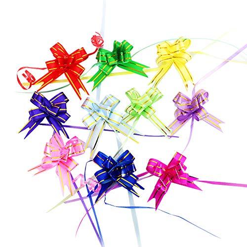 JIHUOO 100 Stück Bunt Gift Wrap Ziehen Bögen Pull Bögen Geschenkschleife Ziehschleife
