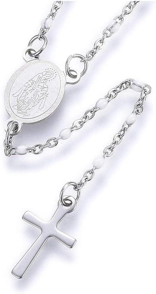 Stainless Steel Lariat Necklace Enamel Lobster Cross Virgin Gold Blue 17