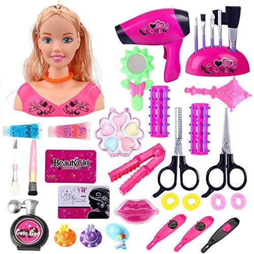 Sunbary 34Stücke Schminkkopf Frisierkopf inklusiv Kosmetik und Zubehör, Styling Kopf Rollenspiele für kleine Mädchen
