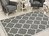 Sweet Home Stores Clifton Collection Light Grey Moroccan Trellis Design (7'10'X9'10') Area Rug…