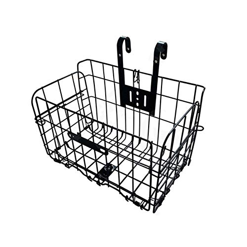 Tfwadmx Folding Bike Front Basket, Rust Proof Removable Bike Wire Basket with Handles, Easy Installation on Front Handlebar for Mountain Bike Accessories Frame Basket Bicycle Bag Cargo Rack