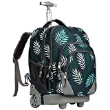 WEISHENGDA 18 inches Wheeled Rolling Backpack Multi-Compartment College Books Laptop Bag, Leaves.