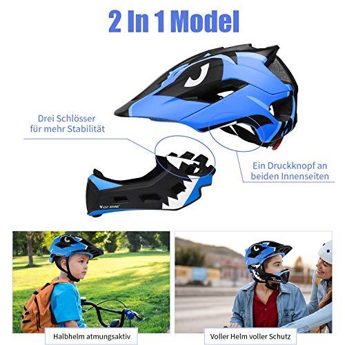ICOCOPRO Fahrradhelme,Sicherheitsschutz für Kinder, Abnehmbar, Fullface Helm Kinder, für 5-15 Jahre,Passt für Kopfgröße 52-56, Fahrradfahren und Motorradfahren, Knallblau/Rot/Gelb/Blau/Rosa (5Farbe) - 2