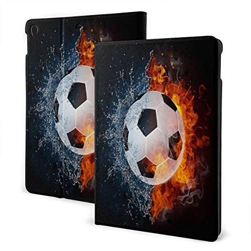 Baliboon Soccer Ball in Fire and Water Ipad Case Pu Leather 3D Printed Screen Protector Slim Stand Hard Back Shell Protective Shockproof Generation Smart Cover Case for Ipad Air3 7th & Pro 10.5 Inch