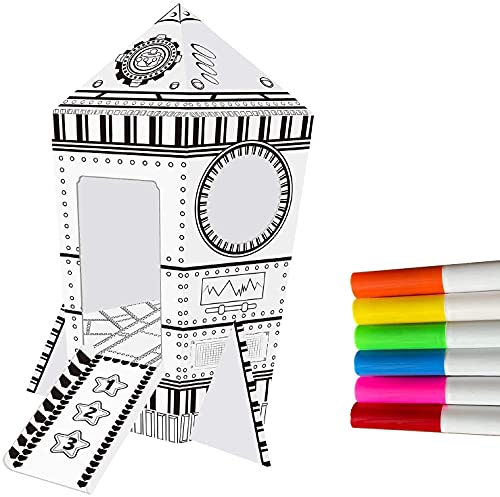 NINOSTAR Cardboards Painting Playhouse, Paper Rocket Spaceship Tent, Astronaut Coloring Art & Craft, Fun Indoor & Outdoor for Girls and Boys, Birthday Gift, Space Birthday