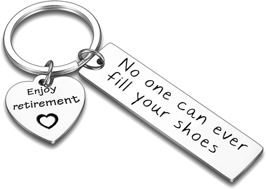 Boss Retirement Gifts for Women Men 2021 Coworker Leaving Gifts for Teacher Nurse Keychain-Thank You Appreciation Gift Keyring Supervisor Colleague Employee Birthday-No One Can Ever Fill Your Shoes