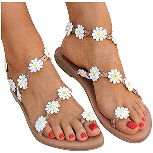 Nuevo 2021 Sandalias Mujer Verano Flores Planas Moda Sandalias de Vestir Playa Chanclas para Mujer Zapatos Sandalias de Punta Abierta Roma casual Sandalias Fiesta Cómodo Flip flop