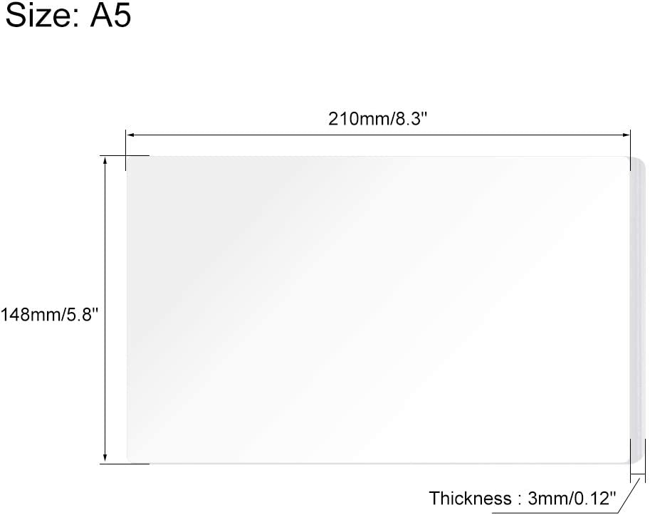 sourcing map White Cast Acrylic Plexi Glass Sheet,8 x 6 Square Panel 2mm Thick Plastic Plexi Glass Board for Picture Frames Sign Holders Craft 210x148mm
