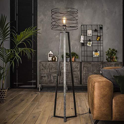 Famlights staande lamp Riccardo van metaal in antraciet, 1 x E27, industrieel design | elegante staande lamp voor woonkamer slaapkamer | designerlamp gedraaid bedlampje | driepoot staande lamp vintage