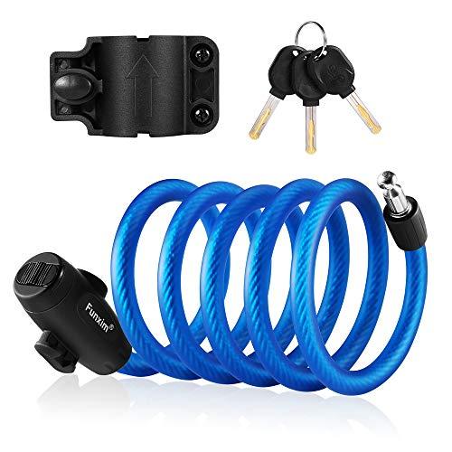 Bloqueo de la bicicleta 180 cm / 12 mm con 3 piezas de llave y cable de metal, candado para bicicleta, carga pesada, combinación segura con soporte de montaje para bicicleta triciclo scooter Azul