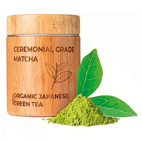 MATCHITA - Té Verde Matcha Orgánico en Polvo | 100% EU-BIO | Grado Más Alto | Bebida Japonesa de Grado Ceremonial | Bebidas Frías y Calientes | Contenedor de Bambú