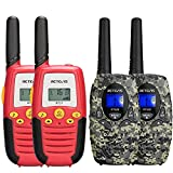 Retevis RT628 Walkie Talkies for Kids(Camouflage,2 Pack) Bundle RT37 22 Channels Kids Walkie Talkies with Flashlight,for 6-12 Years Old Children Hiking Road Trip(Red,2 Pack)