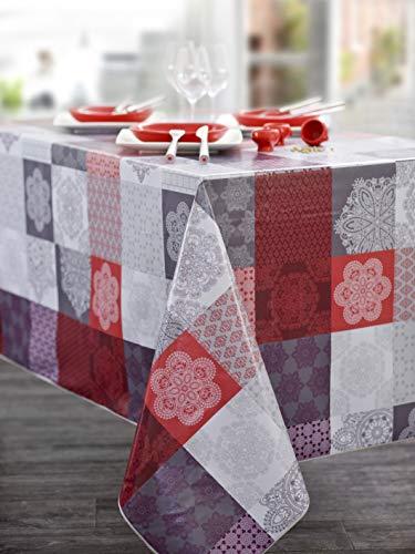 CALITEX Oliedoek Tafelkleed met Oosterse patch 180 x 240 cm Ovaal Rood