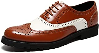 XinQuan Wang Brogue Oxford for Men Formal Wedding Shoes Lace up Genuine Leather Perforated Round Toe Rubber Sole Block Heel Two Tones (Color : Brown, Size : 7 UK)