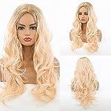 HAIRCUBE Peluca rubia larga pelucas de ondas naturales para mujeres, pelucas sintéticas de partición media de raíz oscura, para fiestas o uso diario