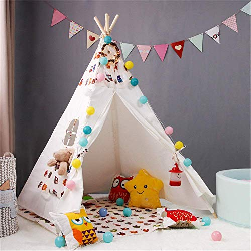 Great Price! ZTBXQ Leisure and entertainmentNatural Cotton Canvas Teepee Children's Tent Indoor Game...