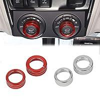 HKPKYK テレインノブリングデコレーション、Toyota 4Runner 2010 +、TRDスイッチボタンカバーコントロールトリムサラウンドカーインテリアスタイリング