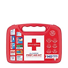 140-piece Johnson & Johnson All-Purpose Portable and Compact Emergency First Aid Kit for use at home, in cars, outdoors, dorm rooms, camping, offices & on-the-go. Helps care for minor wounds, cuts, scrapes, burns, itches, pain, skin rashes & insect b...