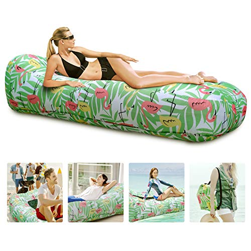 Myuilor Lounger Chair Air Sofa Couch Inflatable Hammock Ergonomic Beach Bed Waterproof Anti-Air Leaking for Camping Hiking Travel Beach Picnic Lakeside, No Pump Required (Green)
