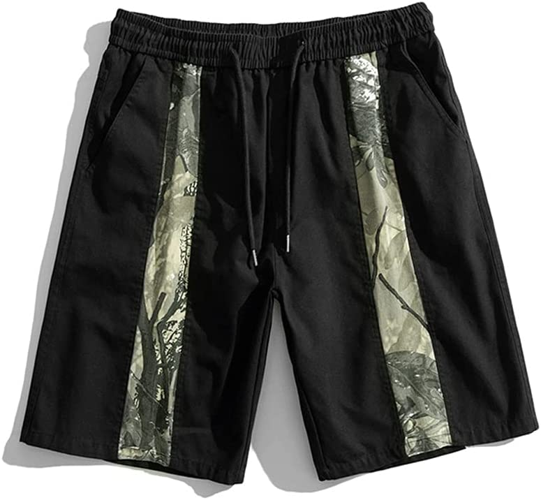 WXYPP Workwear Shorts Men's Loose Contrast Color Camouflage Stitching Casual Five-Point Pants Comfortable (Color : Black, Size : L)
