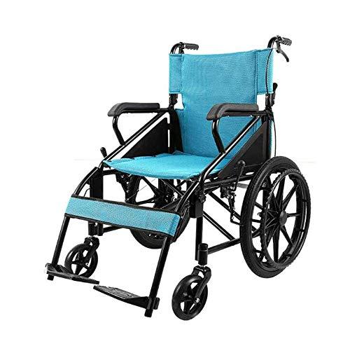 Portátil Plegable Ancianos Discapacitados Tracción en Silla de Ruedas Médico Fácil Transmisión Cómodo Reposabrazos Respaldos Ancianos Ocio Scooter Desmontable Acero Anciano Amplificador; Desventaja,