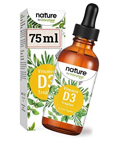 Vitamin D3 Tropfen 75ml - VERGLEICHSSIEGER 2020* - 2550 Tropfen je 1000 I.E. - Flüssig in MCT Öl aus Kokos - Laborgeprüft ohne Zusätz hergestellt in Deutschland