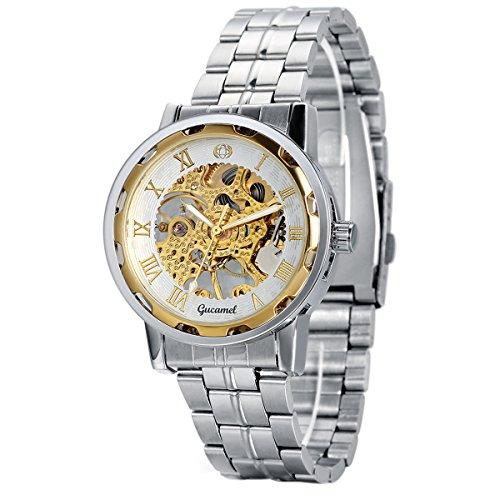 Reloj de Pulsera de Acero Inoxidable para Hombre, Steampunk Esqueleto Semi mecánica Vintage, Números Romanos Analógico, Regalo Original, Avaner