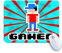 Mabby マウスマット ゲーミング オフィス マウス パッド,gamer Video Game funny Design Over Blue and Red Stripes Background,Non-Slip Rubber Base Mousepad for Laptop Computer PC Office,Cute Design Desk Accessories