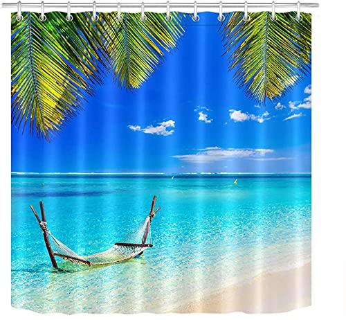 Tenda Doccia Amaca tropicale Sunny Beach in acqua per bagno Tessuto in poliestere impermeabile con 12 ganci 72x72 pollici