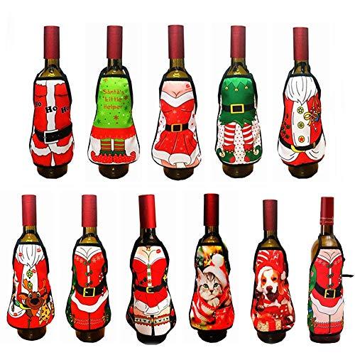 QYWJ 11pcs Botella De Vino Creativa Cubiertas, Lindo Mini Delantal Sexy Botella de Vino decoración para decoración de Mesa para el hogar decoración navideña