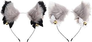 SOLUSTRE Djur faux päls katt öron pannband med klockor fina huvudbonader perfekt hår tillbehör för halloween cosplay fest ...