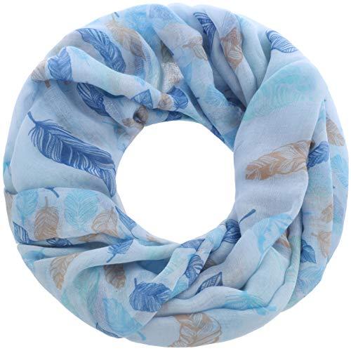 Faera Damen Schal verspielte Federn weich und leicht Loopschal Rundschal in verschiedenen Farben, SCHAL Farbe:Hellblau