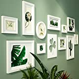 DONG Foto Wand Bilderrahmen Collage Foto Wände Holz Foto Wände Bilderrahmen Grün Dekorative Gemälde Kombination Wohnzimmer Schlafzimmer Dekorationen (Farbe : All White)