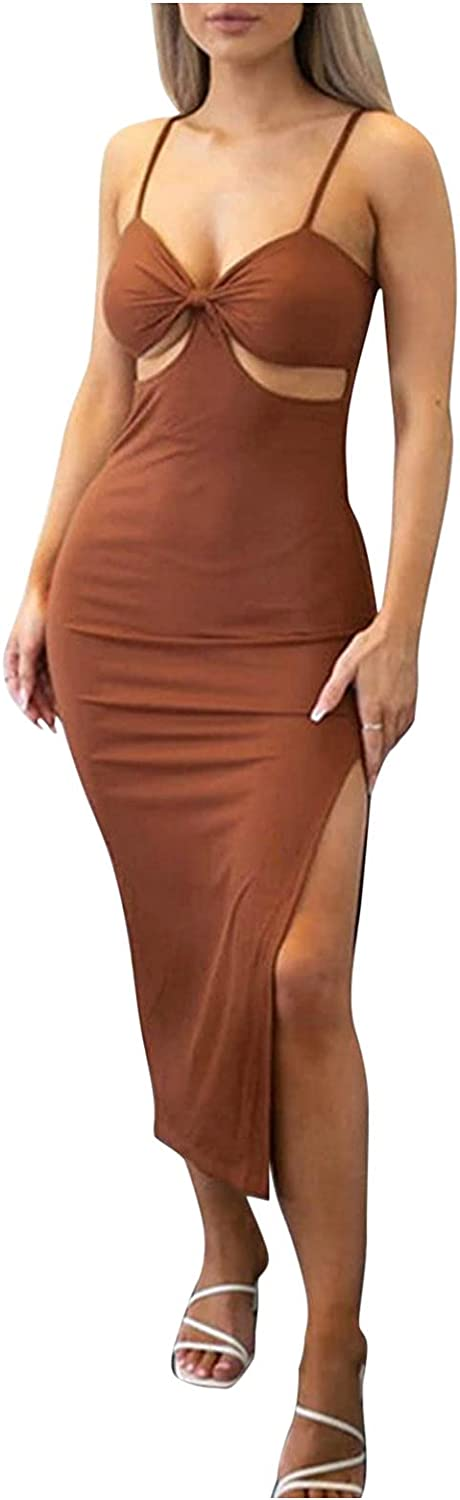 Maxi Max 89% OFF Tank Popular product V Neck Bodycon Dresses Comfo Women Backless Halter for