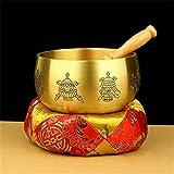 FFDGHB Tibetische Klangschale Kupfer Klangschale Meditation Chakra Heilung, Stiller Verstand, Gebet, Yoga Buddha Stimme Drehen SchüSsel SchöNes Geschenk 13Cm