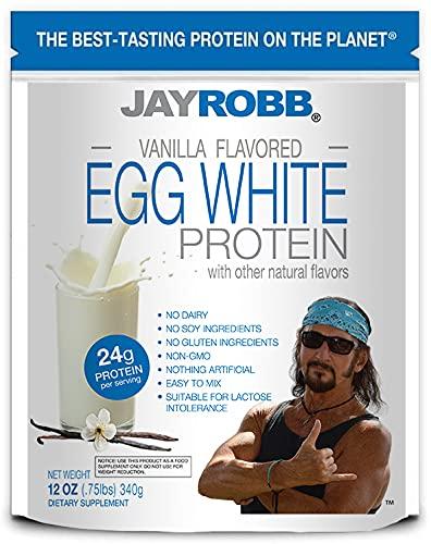 Jay Robb Vanilla Egg White Protein Powder, Low Carb, Keto, Vegetarian, Gluten Free, Lactose Free, No Sugar Added, No Fat, No Soy, Nothing Artificial, Non-GMO, Best-Tasting, (12 oz, Vanilla)