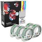 5 Compatibles S0898160 bianco sobre verde 9mm x 3m Cintas de estampación autoadhesivas para impresoras de etiquetas Dymo 3D Omega y Junior