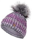 Faera Wintermütze warm gefüttert mit Kunstfell Bommel-Mütze Fleece-Futter Winter Strick-Mütze Beanie-Mütze Damen Herren One-Size, Farbe:Lila
