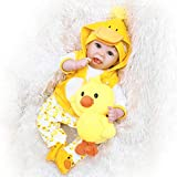 Real Life Reborn Dolls 22' Realistic Silicone Vinyl Baby Doll Girl Yellow Outfit Weighted Newborn Dolls with Accessories