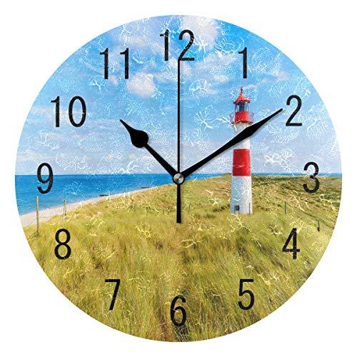 Use7 Home Decor Schöne Landschaft, Natur Himmel Leuchtturm, Acryl-Wanduhr, nicht tickend, geräuschlose Uhr, Kunst für Wohnzimmer, Küche, Schlafzimmer