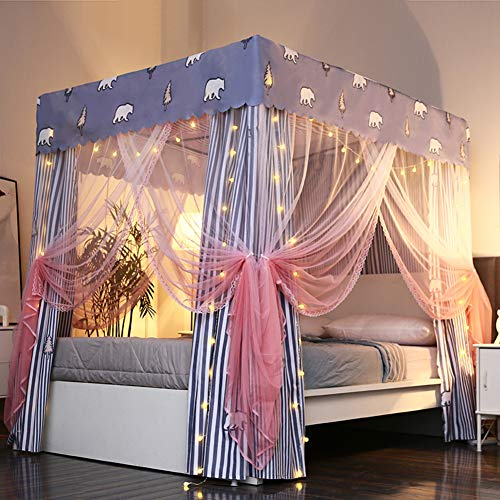Save %41 Now! Large Canopy Net for Bed Canopy,Easy to Install Cute Bed Drapes,Square Netting Curtain...