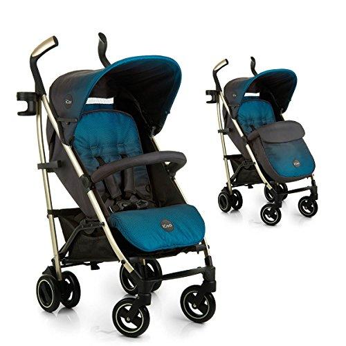 iCOO Pace - Silla de paseo de alta calidad, soporta hasta 25 kg con respaldo reclinable desde nacimiento, plegable y plano, ligero, chassis de aluminio, portavasos, cesta grande, azul