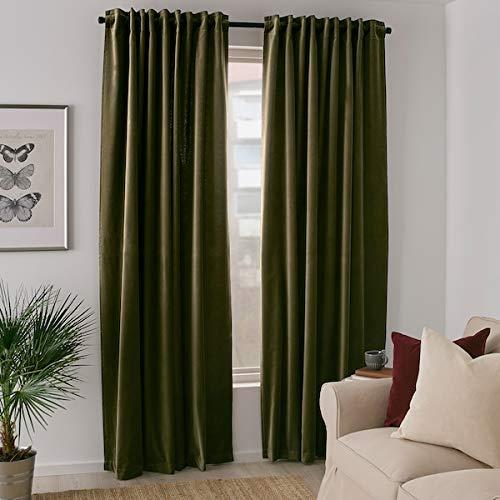 IKEA SANELA Velvet Curtains Room Darkening 55x98 2 Panels Olive Green