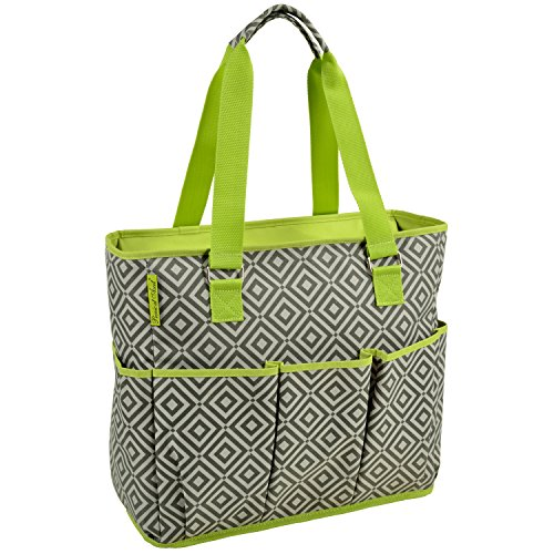 Picnic at Ascot Bolsa de viaje grande aislada con 6 bolsillos exteriores, color gris granito, verde