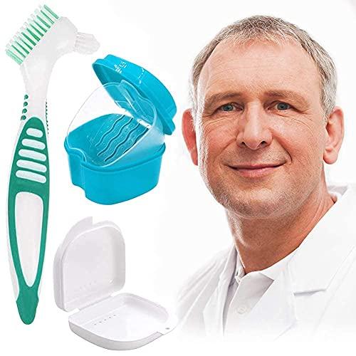 HUYIWEI Zahnprothese Box,Aufbewahrungsbox für Prothesen,Zahnprothesendose,Teeth Aufbewahrungsbox mit Hängenden Net,2 Kleine Aufbewahrungsboxen für Unterwegs Mit Prothesenreinigungsbürste(3 Stück)