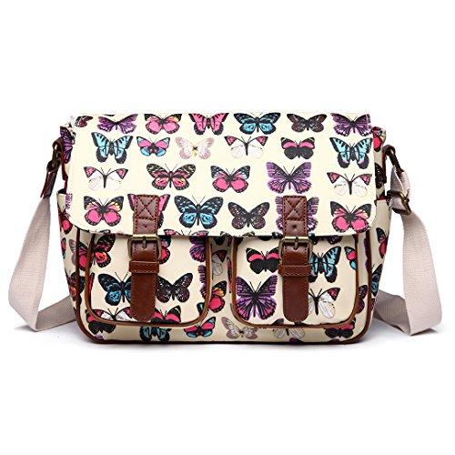Miss LuLu Wachstuch Tasche Umhängetasche Schultasche Messenger Bag mit vielen Drucken in vielen Farben (Schmetterling, Beige)