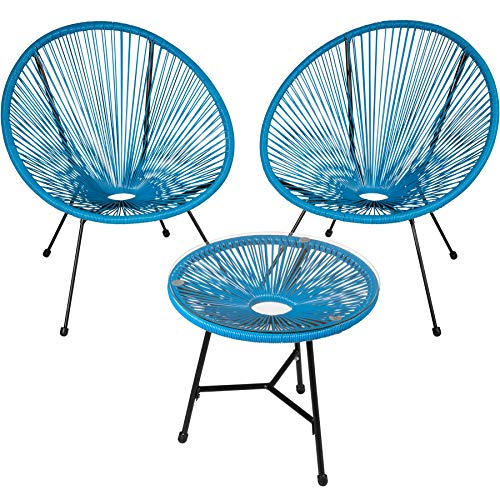 TecTake 800730 Set of 2x Chairs Acapulco with Table, 3 PCS, Circular Loungers, Retro Look, Robust Steel Frame, Garden Furniture, Outdoor Indoor Terrace (Blue | No. 403311)