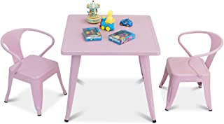 Costzon Kids Table and 2 Chair Set for Indoor/Outdoor Use, Steel Table and Stackable Chairs, Preschool, Bedroom, Playroom, Home, Furniture for Toddlers Boys & Girls(Pink, Table & Chairs)