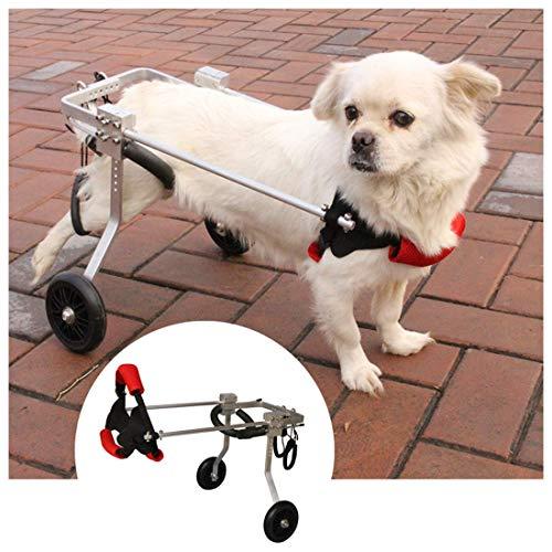 DYB Silla de Ruedas para Perros, Mediana/pequeña, Ajustable para discapacitados, Carro para Perros, Patas traseras, Perro Anciano, Gato, Patinete, (1-20 kg) (tamaño: XS)